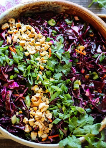 Asian Red Cabbage Slaw - giveitsomethyme.com – a standout slaw with a brilliant purple hue that's a super easy and tasty year-round side dish! #redcabbagecoleslaw #asiancoleslaw #redcabbagecoleslawpulledpork #redcabbagerecipes #redcabbagerecipessalad #asianredcabbagecoleslaw #coleslawrecipe #coleslawrecipeforpulledpork #bbqsidedishes #holidaysidedishesthanksgiving #holidaysidedishesrecipes #holidaysidedishesmakeahead