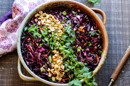 Asian Red Cabbage Slaw | Give it Some Thyme – a standout slaw with a brilliant purple hue that's a super easy and tasty year-round side dish! #redcabbagecoleslaw #asiancoleslaw #asianredcabbagecoleslaw #coleslaw #coleslawrecipe #bbqsidedishes #sidedishes #ketorecipes #summerrecipes #quickandeasyrecipes #giveitsomethyme