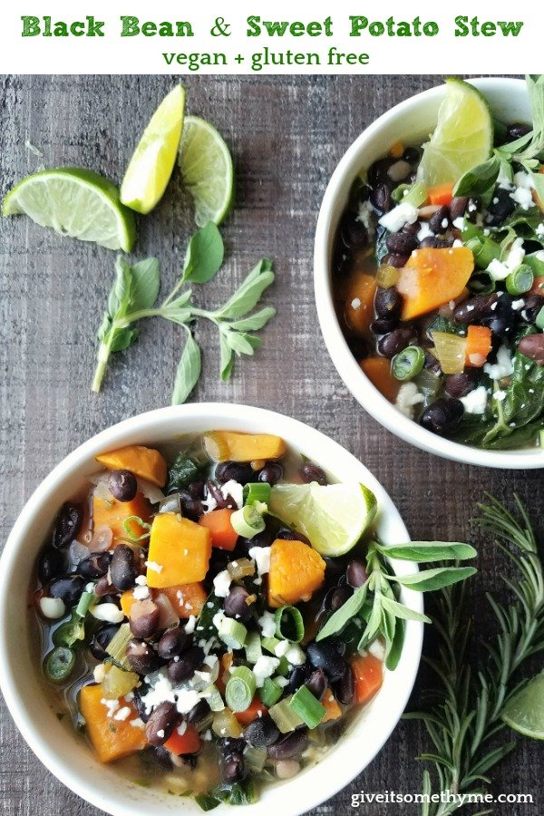 Black Bean Sweet Potato Stew | Give it Some Thyme - This hearty Black Bean Sweet Potato Stew with swiss chard is so locked and loaded with flavor and texture you forget how nutritious it is! #blackbeansweetpotato #blackbeansweetpotatostew #blackbeansweetpotatochili #blackbeanstew #sweetpotatostew #vegetarianstew #fallrecipes #glutenfree #healthyrecipes #giveitsomethyme