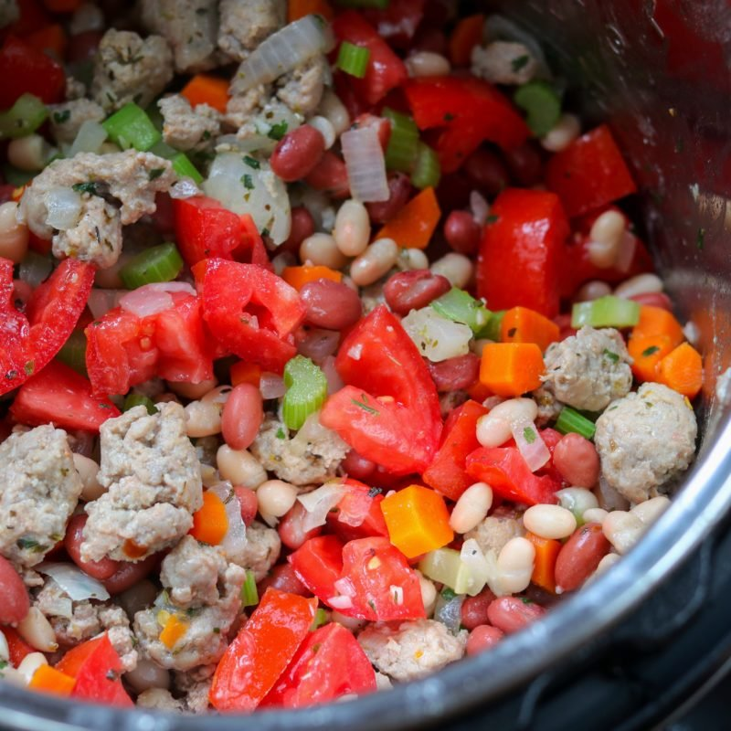 Turkey Sausage, Tomatoes and Beans added to pot.
