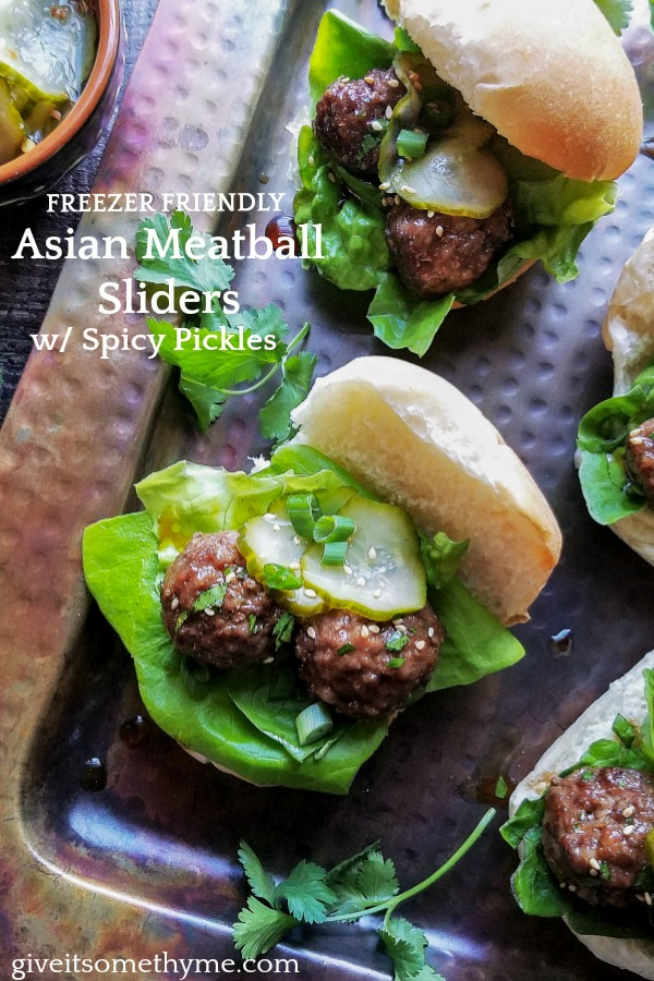 Asian Meatball Sliders w/ Spicy Pickles | Give it Some Thyme – a delicious, easy and freezer-friendly recipe perfect for game days and fuss-free dinners! #asianmeatballs #asianmeatballseasy #asianmeatballsspicy #asianmeatballsfrozen #meatballsliders #meatballslidersrecipes #minimeatballsliders #appetizers #gamedayfood #gamedaysnacks #giveitsomethyme