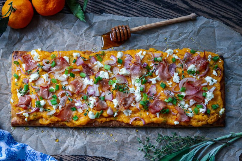 Roasted Butternut Squash Flatbread with Goat Cheese | giveitsomethyme.com – an easy flatbread recipe showcasing butternut squash, goat cheese, prosciutto and shallots with fresh thyme and sage! #flatbread #flatbreadrecipes #flatbreadpizza #easyflatbread #butternutsquash #butternutsquashrecipes #butternutsquashroasted #butternutsquashroastedeasy #appetizers #healthyappetizers #giveitsomethyme