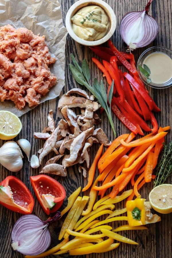 Pasta Sausage and Veggie Dish Ingredients
