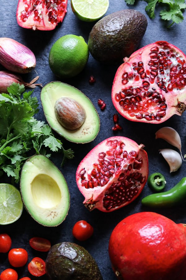 Pomegranate Holiday Guacamole Ingredients - giveitsomethyme.com