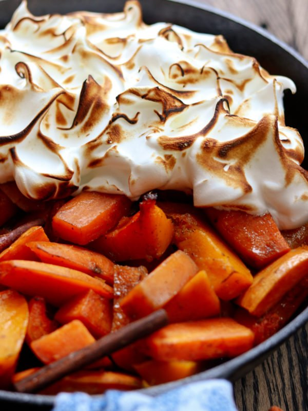 Cider Glazed Sweet Potatoes and Squash - giveitsomethyme.com - sweet potatoes and butternut squash bathe in an apple cider and maple syrup glaze infused with fall spices then topped with a fluffy meringue! #thanksgivingsides #thanksgivingsidedishes #thanksgivingsidedishrecipes #sweetpotatocasserole #sweetpotatocasseroleeasy #sweetpotatocasserolerecipe #ciderglazedsweetpotatoes #butternutsquash butternutsquashrecipes #giveitsomethyme