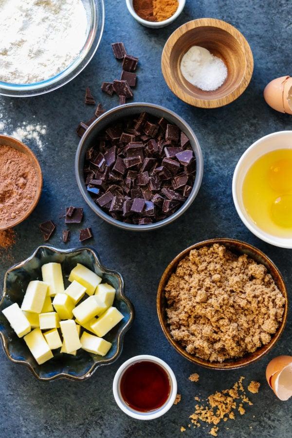 Cookie Ingredients on dark gray surface.