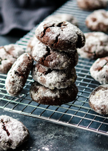 Mocha Midnight Crackles | giveitsomethyme.com – brownie meets cookie in these soft, rich dark chocolate, crinkly treats. #cracklecookies #crinklecookies #chocolatecracklecookies #chocolatecracklecookieseasy #christmascookies #christmascookieseasy #chocolatecookies #doublechocolatecookies #giveitsomethyme