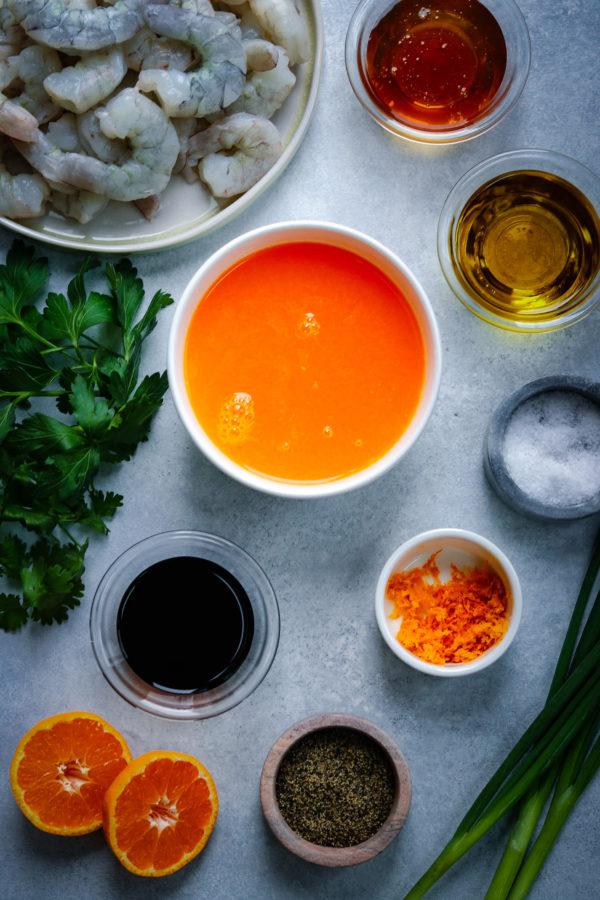 Orange Honey Shrimp Ingredients in bowls