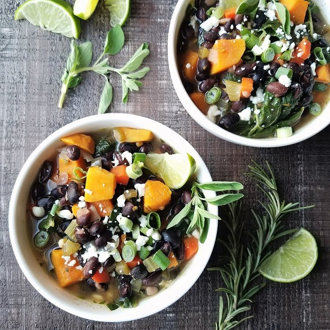 Black Bean & Sweet Potato Stew with Swiss Chard | giveitsomethyme.com - This hearty Black Bean Sweet Potato Stew with swiss chard is so locked and loaded with flavor and texture you forget how nutritious it is! #blackbeansweetpotato #blackbeansweetpotatohealthy #blackbeansweetpotatostew #blackbeansweetpotatochili #blackbeansweetpotatochiliglutenfree #giveitsomethyme #blackbeanstew #sweetpotatostew #vegetarianstew
