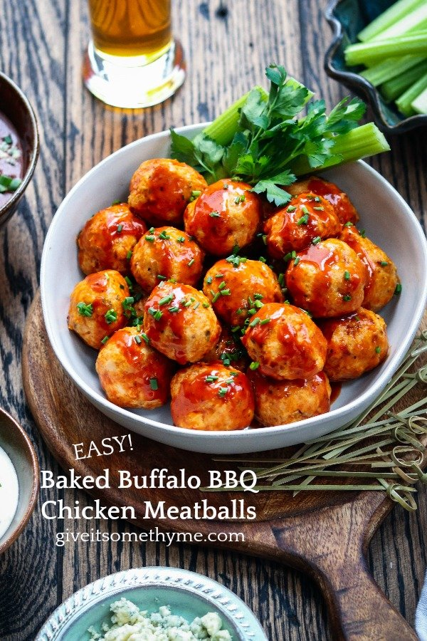 Baked Buffalo BBQ Chicken Meatballs - Give it Some Thyme - simply baked to perfection with browned edges and a tender center then coated in a tangy, sweet and spicy Buffalo BBQ sauce! Perfect for game days! #buffalochickenmeatballs  #chickenmeatballs #meatballs #bakedchickenmeatballs #appetizers #healthysnacks #keto #gamedayfood #gamedayappetizers #gamedayfoodfootball #gamedayfoodeasy #giveitsomethyme