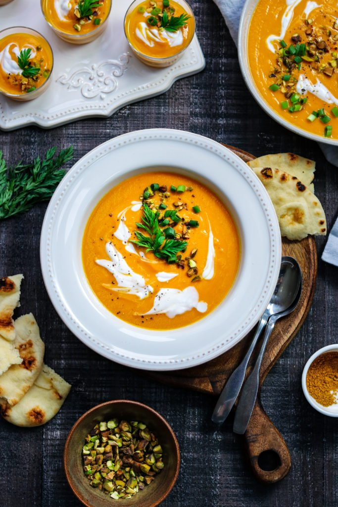 Creamy Curried Carrot Soup | Give it Some Thyme - a delicious, vegan and gluten free soup that's full of flavor with a velvety texture and is freezer friendly! #carrotsoup #carrotsouprecipes #carrotsoupvegan #healthysouprecipes #cleaneating #carrotbisque #curriedsoup #vegan #glutenfree #freezerfriendlysoup #giveitsomethyme