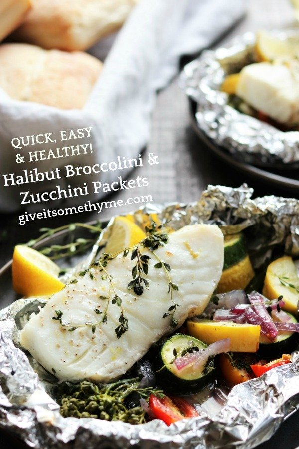 Halibut Broccolini & Zucchini Packets - flaky halibut on a bed of fresh veggies laced with lemon, white wine, and thyme! #keto #glutenfree #summerrecipes #fishdinner #fishdinnerrecipes #fishdinnerideas #healthydinners #quickandeasydinners #halibut #besthalibutrecipes #foilpackets #giveitsomethyme | giveitsomethyme.com