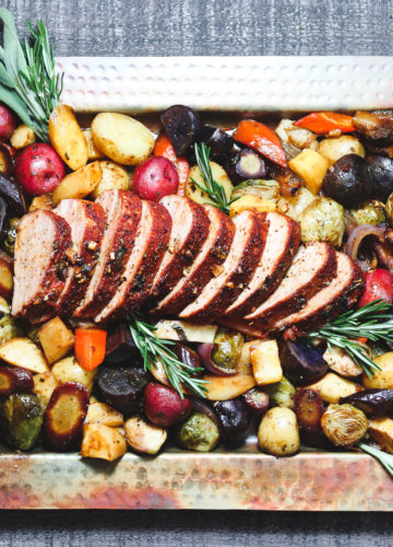 Spice Rubbed Pork Tenderloin & Balsamic Glazed Root Vegetables | Give it Some Thyme –an easy and delicious gluten-free sheet pan dinner full of balsamic glazed brussels, carrots, parsnips, and red onion! #porktenderloin #sheetpandinners #healthysheetpandinners #sheetpandinnerspork #sheetpandinnersporktenderloin #glutenfreedinner #roastedrootvegetables #fallrecipes #giveitsomethyme