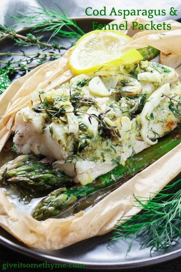 Cod Asparagus & Fennel Packets | Give it Some Thyme – these easy fresh cod packets are laced with lemon, thyme, dill, and spiked with dry vermouth. Gluten-free and on the table in 45 minutes! #fishdinner #fishdinnerrecipes #fishdinnerideas #fishdinnerhealthy #healthydinners #quickandeasydinners #codrecipes #cod #codfishrecipes #codrecipeshealthy #codhealthy #bestcodrecipes #bestcoddinners #fishpackets #fishpacketsoven #giveitsomethyme