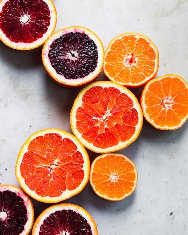 Winter Citrus - halved cara cara, sumo and blood oranges used in salad #oranges #wintercitrus #giveitsomethyme