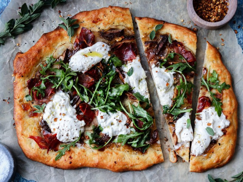 Potato Mushroom And Burrata Pizza Give It Some Thyme