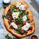 Potato Mushroom and Burrata Pizza w/ Prosciutto & Arugula | Give it Some Thyme – a delicious and easy pizza recipe on homemade white wine dough! #pizza #potatopizza #burratapizza #mushroompizza #pizzarecipes #homemadepizza #pizzadough #whitewinepizzadough #giveitsomethyme