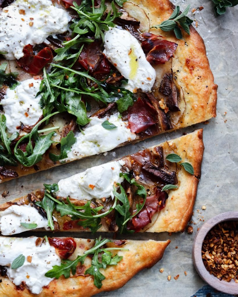 Potato Mushroom and Burrata Pizza w/ Prosciutto & Arugula | Give it Some Thyme – a delicious and easy pizza recipe on homemade white wine dough! #pizza #potatopizza #burratapizza #mushroompizza #pizzarecipes #homemadepizza #homemadepizzarecipe #pizzadough #pizzadoughrecipe #whitewinepizzadough #prosciuttorecipes #giveitsomethyme