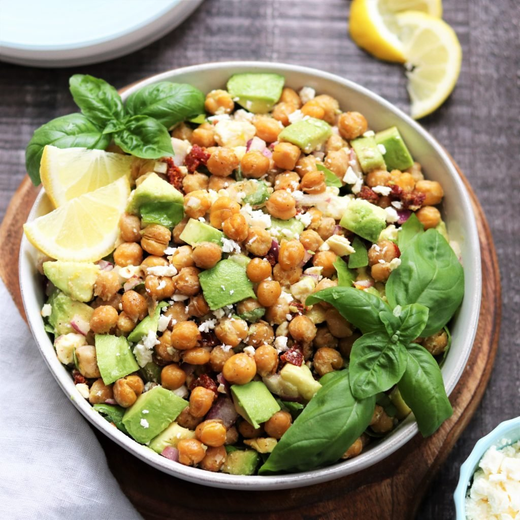 Roasted Chickpea Salad w/ Avocado & Feta - a delicious vegetarian and gluten free salad that's ready in 30 minutes! #roastedchickpeasalad #roastedchickpeasaladhealthy #chickpeaandavocado #chickpeaandavocadosalad #vegetarianandglutenfree #giveitsomethyme | giveitsomethyme.com