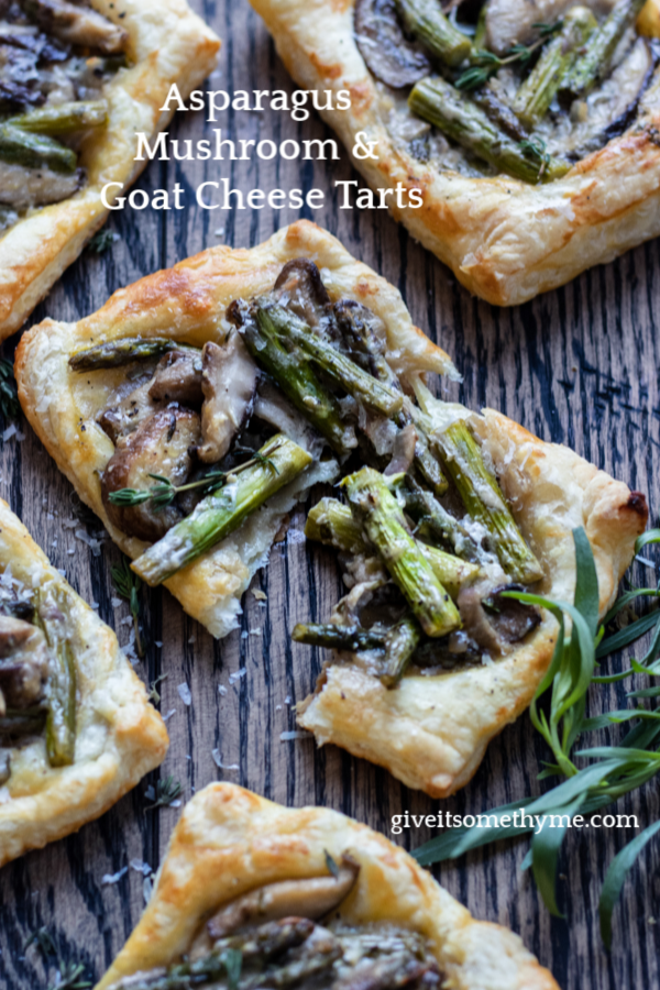 Asparagus Mushroom & Goat Cheese Pastry Tarts | Give it Some Thyme – an easy and delicious appetizer or side dish you can prep ahead! #asparagusrecipes #asparagustarts #springrecipes #springrecipesvegetarian #asparagustartspuffpastries #asparagusmushroomrecipes #puffpastryrecipes #puffpastryappetizers #asparagusmushroomtart #asparagusmushroomtartgoatcheese #vegetarianappetizers #vegetariansides #vegetariansidedishes #giveitsomethyme