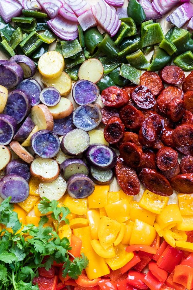 Chorizo Potato Skewer Ingredients Roasted