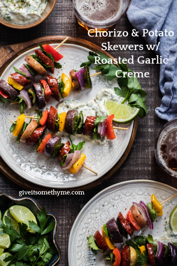 Chorizo & Baby Potato Skewers with Roasted Garlic Crème | Give it Some Thyme – a super easy and tasty appetizer with bold flavor served with a delicious roasted garlic dipping sauce! #chorizo #chorizorecipes #chorizopotato #chorizopotatorecipes #chorizopotatoskewers #spanishskewers #appetizerskewers #appetizerskewerseasy #tastyappetizers #tastyappetizerseasy #giveitsomethyme