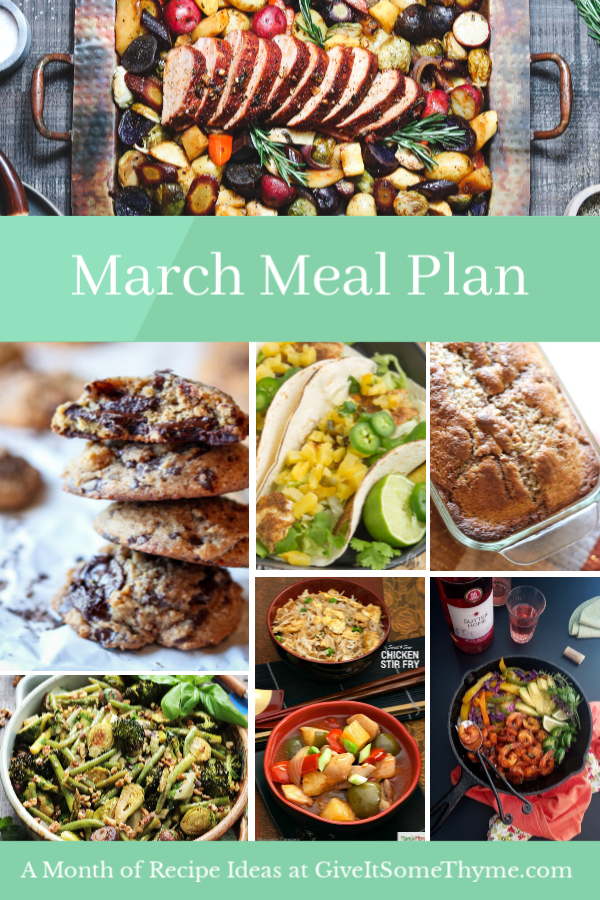 March Meal Plan | Give it Some Thyme – an entire month of recipes for cooking inspo that has you covered for Mardis Gras and St. Patrick's Day! #mealplan #monthlymealplan #mealplanning #monthlymenu #monthlymenuplan #healthydinners #partyfood #stpatricksdayrecipes #stpaddysdayrecipes #mardigrasrecipes #giveitsomethyme
