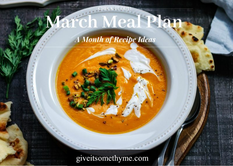 March Meal Plan - Give it Some Thyme – an entire month of recipes for cooking inspo that has you covered for Mardis Gras and St. Patrick's Day! #mealplan #monthlymealplan #mealplanning #monthlymenu #monthlymenuplan #healthydinners #partyfood #stpatricksdayrecipes #stpaddysdayrecipes #mardigrasrecipes #giveitsomethyme