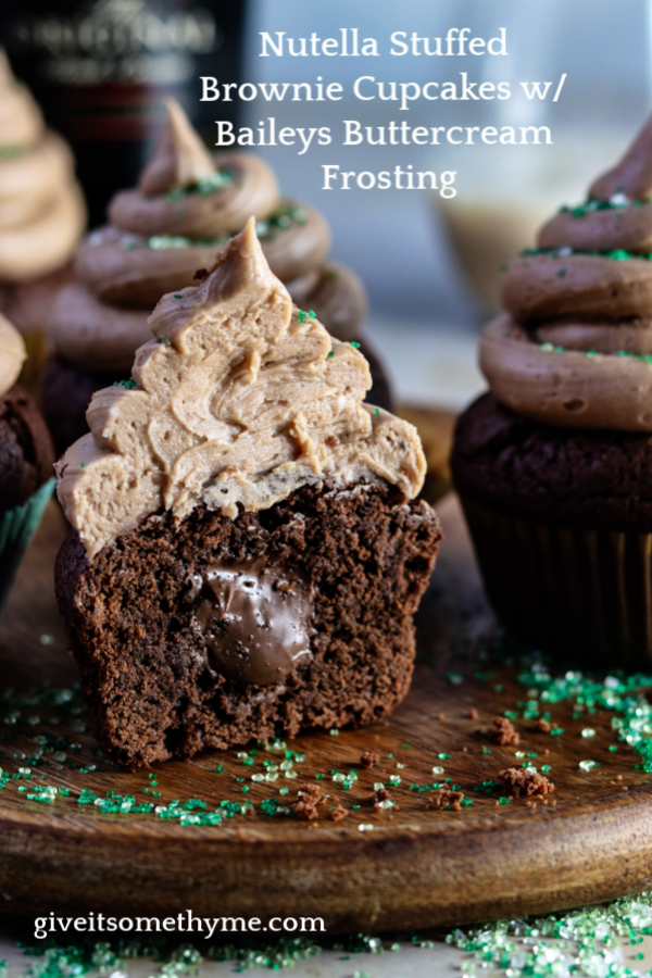 Nutella Stuffed Brownie Cupcakes w/ Baileys Buttercream Frosting | Give it Some Thyme – super moist, chocolaty and piled high with dreamy Irish cream frosting! #cupcakes #browniecupcakes #browniecupcakesrecipes #nutellacupcakes #nutellastuffedcupcakes #nutellacupcakesrecipe #baileysbuttercream #baileysbuttercreamfrosting #baileysbuttercreamfrostingcupcake #baileysirishcreamrecipes #giveitsomethyme