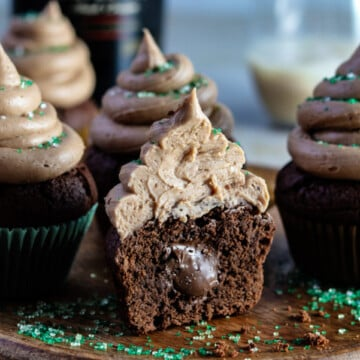 Nutella Stuffed Brownie Cupcakes with Baileys Buttercream Frosting | giveitsomethyme.com – super moist, chocolaty and piled high with dreamy Irish cream frosting! #cupcakes #browniecupcakes #browniecupcakesrecipes #nutellacupcakes #nutellastuffedcupcakes #nutellacupcakesrecipe #baileysbuttercream #baileysbuttercreamfrosting #baileysbuttercreamfrostingcupcake #baileysirishcreamrecipes #giveitsomethyme