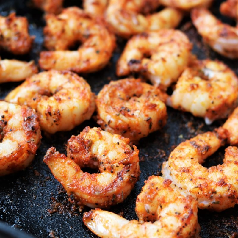 Seared Shrimp w/ Creole Spices in Cast Iron Skillet