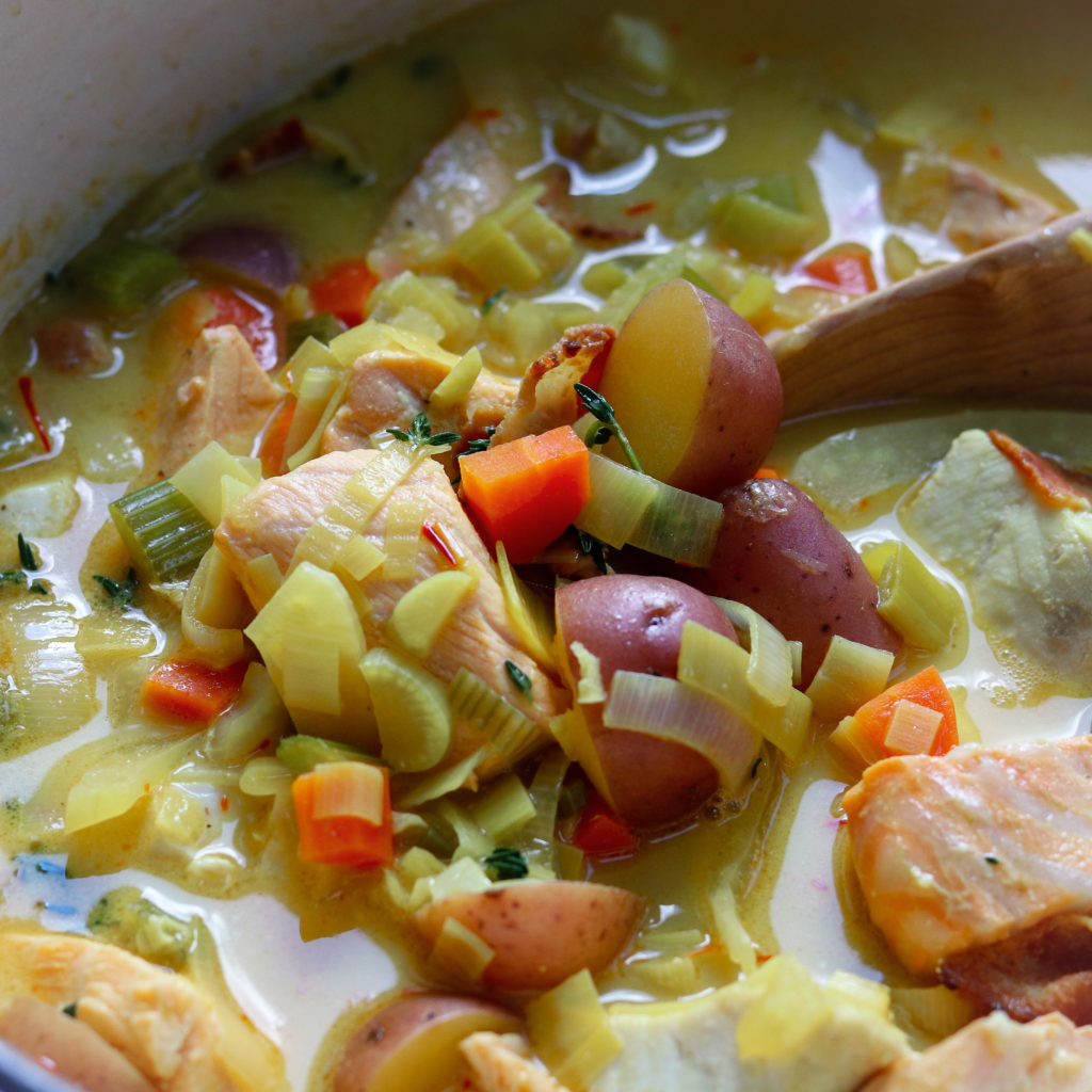Saffron Fish Chowder Done in Pot