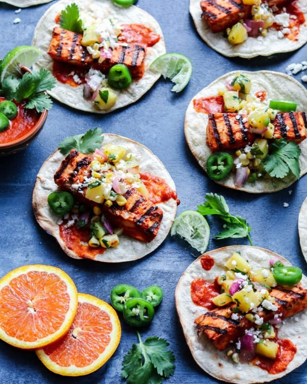 Fish Tacos Al Pastor with Grilled Pineapple Salsa | Give it Some Thyme – an easy and delicious, lightened up twist on this classic Mexican dish. These tacos are addicitive! #tacos #fishtacos #easyfishtacos #fishtacossauce #grilledfishtacos #grilledfishtacosmahimahi #grilledmahimahi #grilledmahimahitacos #grilledmahimahirecipes #alpastor #alpastortacos #alpastorrecipe #fishtacosalpastor #fishrecipe #grilledfishrecipe #easyfishtacosrecipe #giveitsomethyme