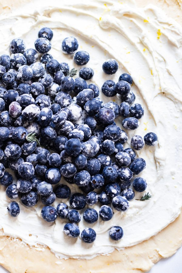Blueberries Piled on Ricotta