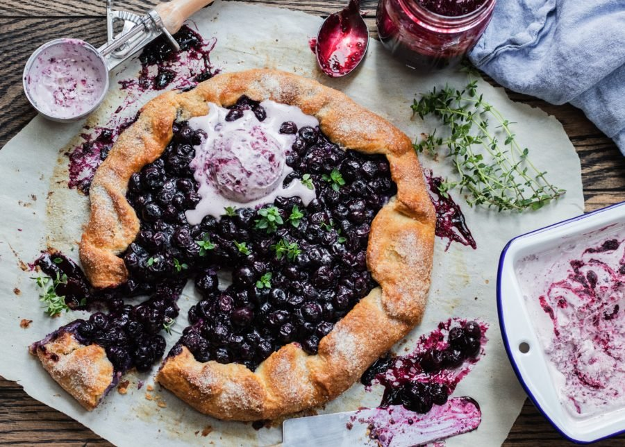 Blueberry Thyme Galette w/ Berry Jam Swirl Ice Cream| giveitsomethyme.com – a beautiful & delicious fresh blueberry galette with a layer of lemony ricotta, laced with thyme and served with berry jam ice cream! #galette #blueberrygalette #blueberrygaletteeasy #blueberrygaletterecipe #blueberrytart #rusticdesserts #blueberrycrostata #blueberrycrostatarustic #giveitsomethyme #blueberryricotta #springdessertrecipes #summerdessertrecipes