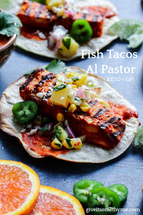Fish Tacos Al Pastor w/ Grilled Pineapple Salsa | giveitsomethyme.com – an easy and delicious, lightened up twist on this classic Mexican dish. These tacos are addicitive! #tacos #fishtacos #easyfishtacos #fishtacossauce #alpastor #alpastortacos #alpastorrecipe #fishtacosalpastor #fishrecipes #mexicanrecipes #healthydinners #giveitsomethyme