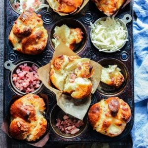 Prosciutto and Gruyere Brioche Rolls | Give it Some Thyme – this easy, homemade French Brioche is deliciously tender, buttery, and flaky with a deep golden, shiny crust. #brioche #briochemuffins #briocherecipe #briocherolls #homemadebrioche #homemadebriochebread #homemadebread #homemadebreadrecipes #frenchbrioche #frenchbriocherecipe #giveitsomethyme