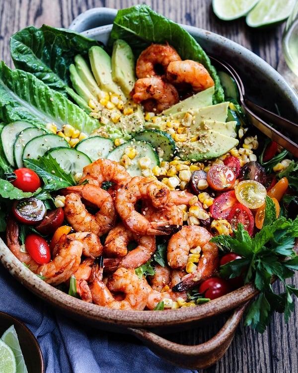 Grilled Shrimp Garden Salad served in large ceramic bowl