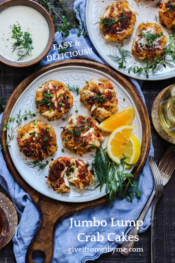 Jumbo Lump Crab Cakes w/ White Wine Meyer Lemon Sauce – succulent high lump crab-to-breading ratio cakes served with a silky, luscious citrusy sauce. #appetizers #springrecipe #summerrecipe #lightdinners #lightdinnersforsummer #crabcakes #meyerlemon #chardonnaysauce #winesauce #giveitsomethyme | giveitsomethyme.com
