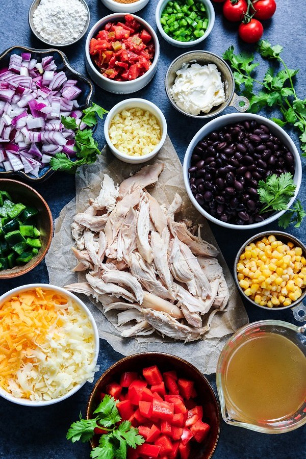 Ingredients - chicken, black beans, corn, red onion, peppers, tomatoes, cheese and cilantro