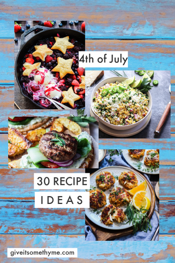 4th of July Party Menu Ideas – A delicious collection of cocktails, apps, mains, sides, salads and desserts to help you throw an amazing and memorable star-spangled cookout! #4thofjulypartyideas #4thofjulyfood #4thofjulyfoodrecipes #fourthofjulyfood #july4thfood #july4thpartyideas #bbqfood #summerrecipes #giveitsomethyme | giveitsomethyme.com