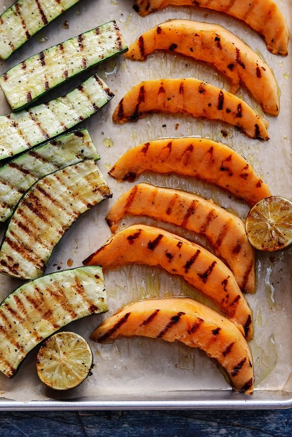Cantaloupe and Zucchini off the grill