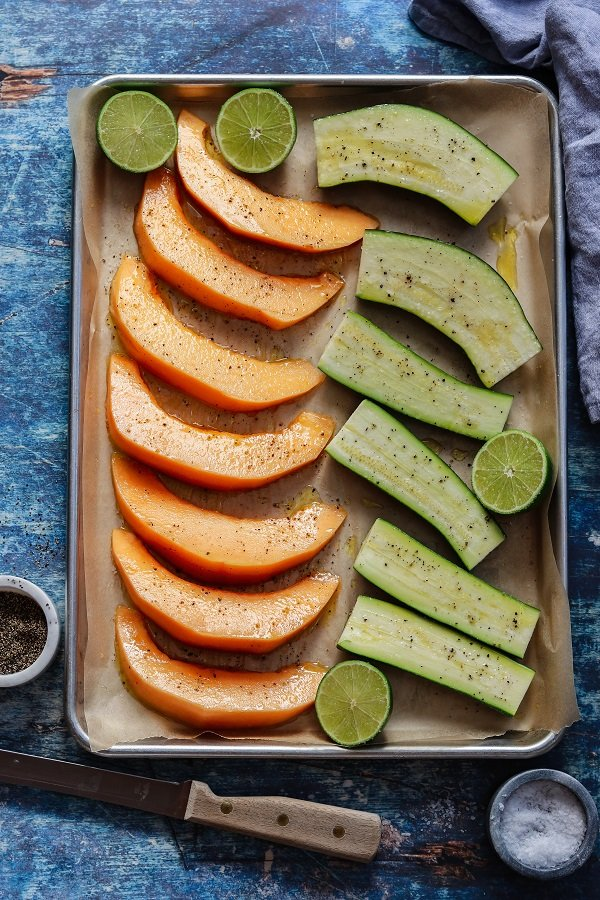 cantaloupe and zucchini ready to grill