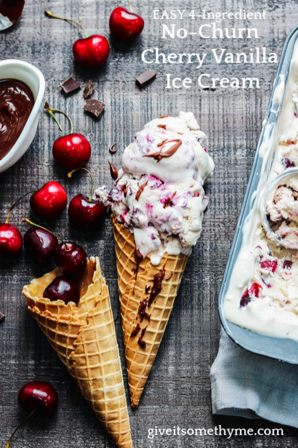 No Churn Cherry Vanilla Ice Cream w/ Chocolate Cherry Sauce - no ice cream maker required for this creamy vanilla ice cream loaded with fresh cherries and served with a luscious sauce. #icecream #nochurnicecream #cherryvanillaicecream #frozendesserts #summerdesserts #makeaheaddesserts #giveitsomethyme | giveitsomethyme.com
