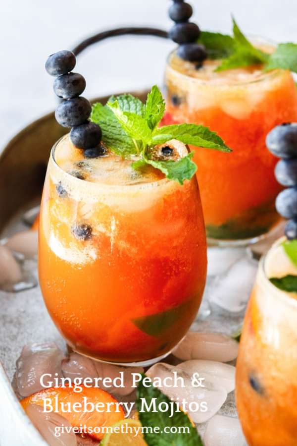 Gingered Peach & Blueberry Mojitos - beat the heat with a refreshingly flavorful twist to the classic cocktail! #mojitos #cocktails #cocktailrecipes #mocktails #peachrecipes #blueberries #summerrecipes #giveitsomethyme | giveitsomethyme.com