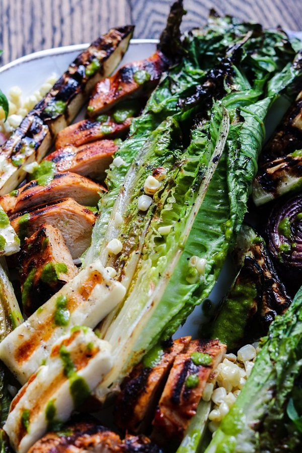 Close Up Grilled Farmers Market Salad w/ Halloumi & Adobo Chicken – take your salad to another level by grilling all the ingredients. So easy, healthy and delicious! #grilledsalad #grilledsaladromaine #halloumi #grilledsaladchicken #grilledsaladdinners #grilledsaladlowcarb #summerrecipes #healthydinners #quickandeasydinners #ketorecipes #giveitsomethyme | giveitsomethyme.com
