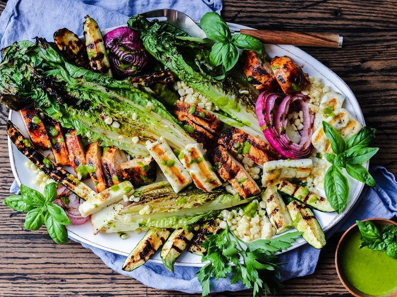 Grilled Farmers Market Salad with Halloumi & Adobo Chicken – take your salad to another level by grilling all the ingredients. So easy, healthy and delicious! #grilledsalad #grilledsaladromaine #halloumi #grilledsaladchicken #grilledsaladdinners #grilledsaladlowcarb #summerrecipes #healthydinners #quickandeasydinners #ketorecipes #giveitsomethyme | giveitsomethyme.com