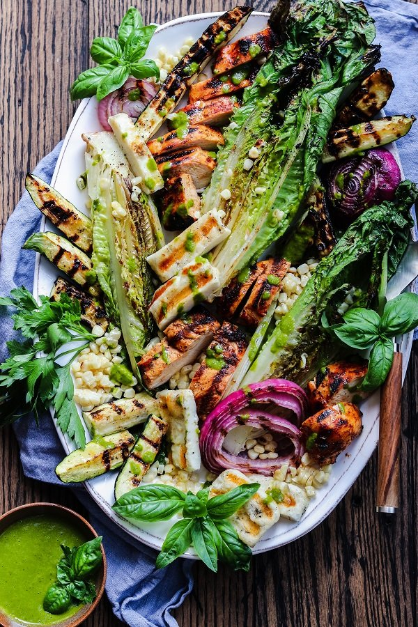 Grilled Farmers Market Salad w/ Halloumi & Adobo Chicken – take your salad to another level by grilling all the ingredients. So easy, healthy and delicious! #grilledsalad #grilledsaladromaine #halloumi #grilledsaladchicken #grilledsaladdinners #grilledsaladlowcarb #summerrecipes #healthydinners #quickandeasydinners #ketorecipes #giveitsomethyme | giveitsomethyme.com