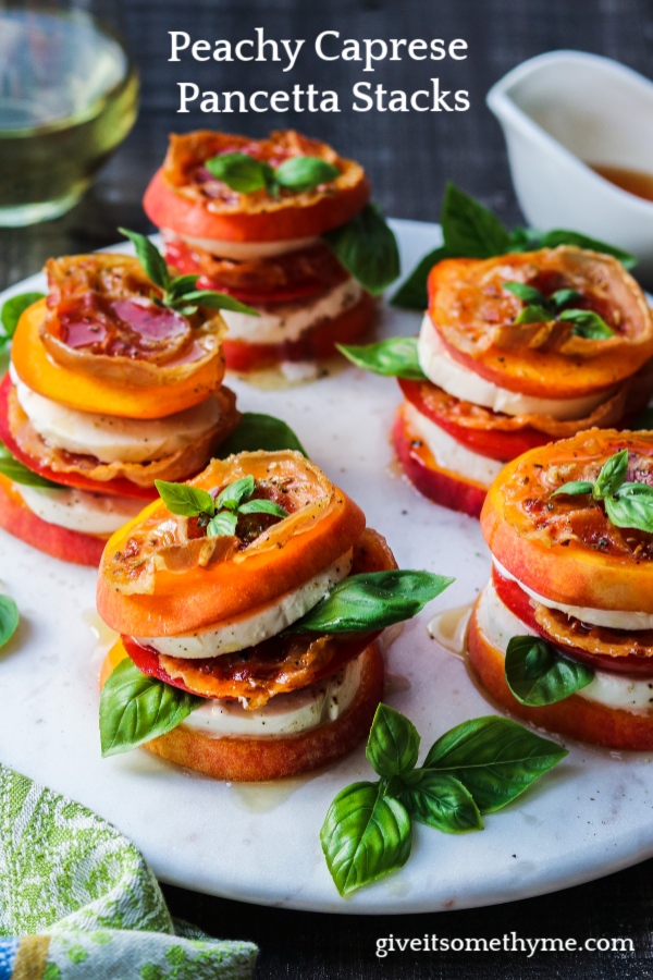 Peachy Caprese Pancetta Stacks – Layers of sweet ripe peaches with fresh mozzarella, tomatoes, basil and crispy pancetta drizzled with honeyed white balsamic glaze is what summer is all about. #peachcaprese #peachcapresestacks #appetizers #summerrecipes #healthyappetizers #easyrecipes #glutenfreerecipes #giveitsomethyme | giveitsomethyme.com