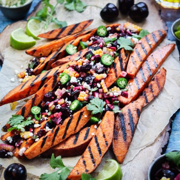 Grilled Sweet Potato Fries with Fresh Cherry Corn Salsa – crisp yet tender grilled sweet potatoes full of sweet n' spicy flavor! #sweetpotatofries #sweetpotatowedges #grilledsweetpotatoes #healthyappetizers #healthysidedishes #glutenfreerecipes #paleo #vegetarian #giveitsomethyme | giveitsomethyme.com